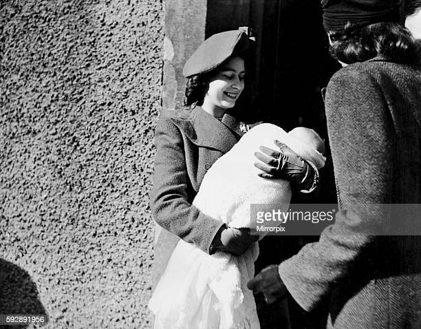 Princess Elizabeth as Godmother to daughter of Wing Commander & The Hon. Mrs King at Comber, Northern Ireland. 1946.