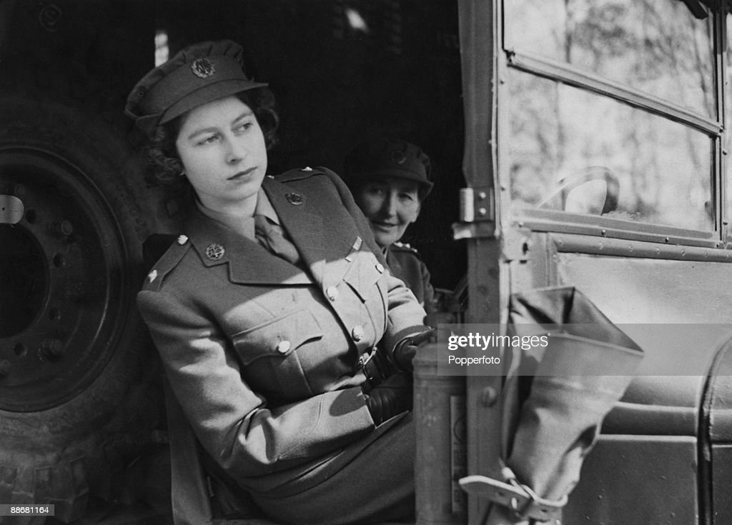Princess Elizabeth (now Queen Elizabeth II) driving an ambulance during her wartime service in the A.T.S. (Auxiliary Territorial Service), 10th April 1945.