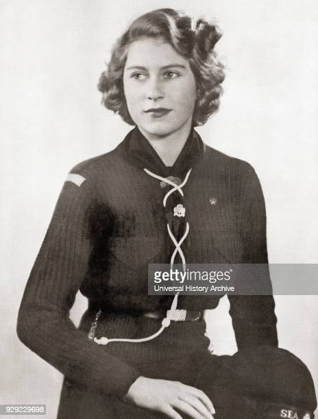 Princess Elizabeth future Elizabeth II born 1926 Queen of the United Kingdom Canada Australia and New Zealand Seen here in 1943 dressed in a girl...