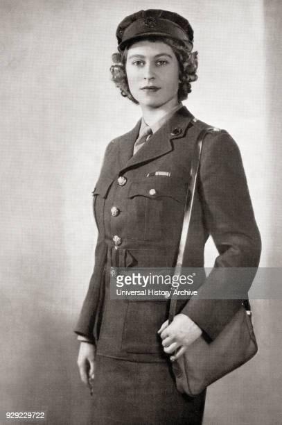 Princess Elizabeth future Elizabeth II born 1926 Queen of the United Kingdom Canada Australia and New Zealand Seen here in 1945 in the uniform of...