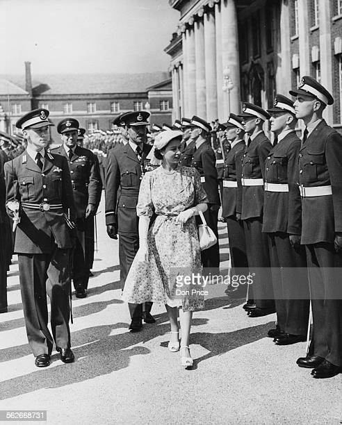 Princess Elizabeth inspecting the Royal Air Force cadets at the Passing Out Parade at the RAF College in Cranwell August 1st 1951