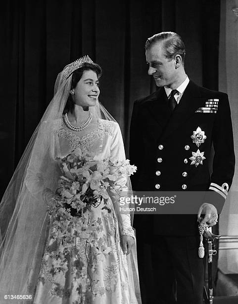 Princess Elizabeth, later Queen Elizabeth II with her husband Phillip, Duke of Edinburgh, on their wedding day, 20th November 1947.