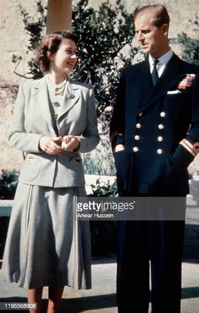 Princess Elizabeth later to become Queen Elizabeth ll and her husband Prince Philip Duke of Edinburgh pose together during their honeymoon in Malta...