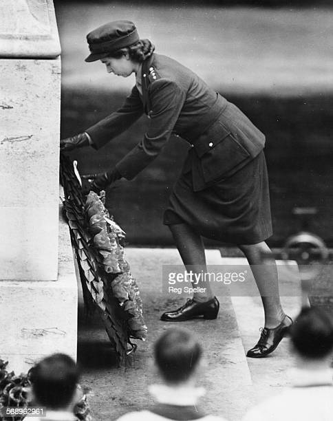 Princess Elizabeth laying a wreath on the Cenotaph during the Remembrance Day Service in Whitehall London November 9th 1947
