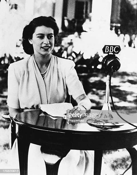 Princess Elizabeth makes a broadcast from the gardens of Government House in Cape Town, South Africa, on the occasion of her 21st birthday, 21st...