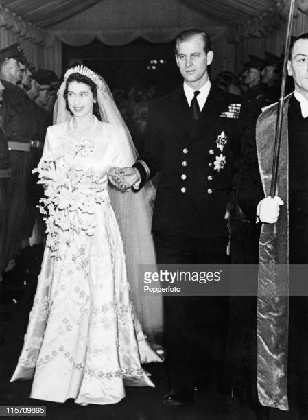 Princess Elizabeth now Queen Elizabeth II and Prince Philip leave Westminster Abbey London after their wedding on 20th November 1947
