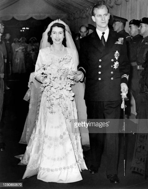 Princess Elizabeth of England and Prince Philip are seen on their wedding day 20th November 1947, in London.