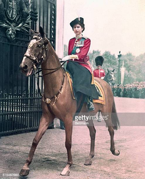 Princess Elizabeth of England represents the King at colorful trooping ceremony Princess Elizabeth photographed on her arrival back at the Palace...