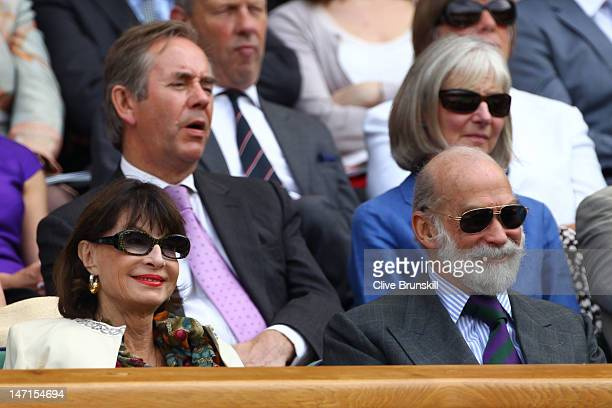 Princess Elizabeth of Yugoslavia and Prince Michael of Kent watch the Ladies' Singles first round match between Petra Kvitova of the Czech Republic...