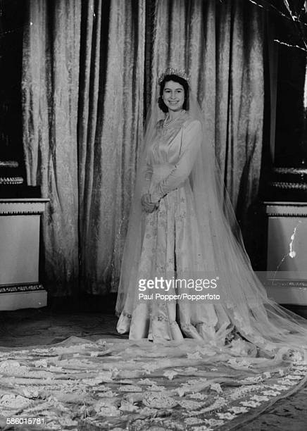 Princess Elizabeth pictured wearing her wedding dress designed by Norman Hartnell 1947