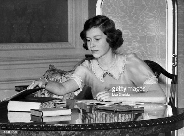 Princess Elizabeth pictured with a book at Windsor Castle, Berkshire, Great Britain, 22 June 1940.
