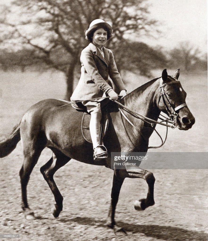 Princess Elizabeth riding her pony in Winsor Great Park, 1930s. : News Photo