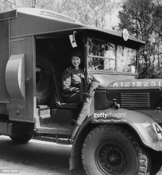 Princess Elizabeth Second Subaltern in the ATS drives an ambulance during training for the Auxiliary Territory Service in Southern England 1945
