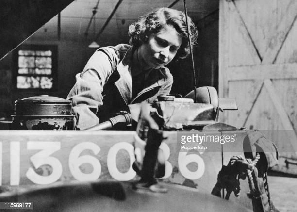 Princess Elizabeth trains as an ATS mechanic, 1945.