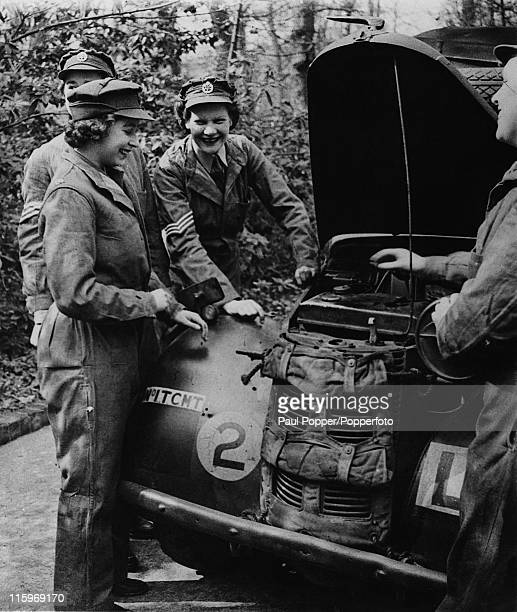 Princess Elizabeth trains as an ATS mechanic at a training centre in southern England April 1945 At this stage she is a Second Subaltern of the ATS
