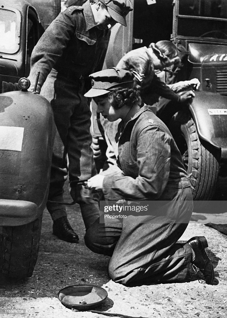Princess Elizabeth trains as an ATS mechanic at a training centre in southern England, April 1945. At this stage she is a Second Subaltern of the ATS (Auxiliary Territorial Service).