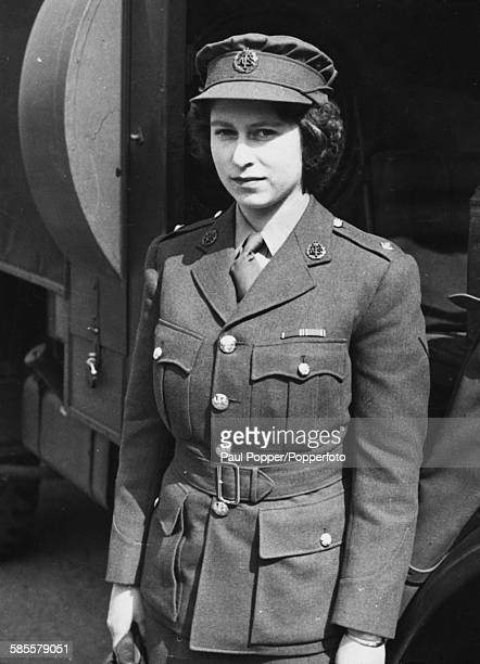 Princess Elizabeth wearing an ATS officers uniform during training for the Auxiliary Territory Service England 1945