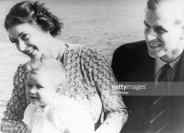 Princess Elizabeth with her husband Prince Philip Duke of Edinburgh and their baby son Prince Charles July 1949