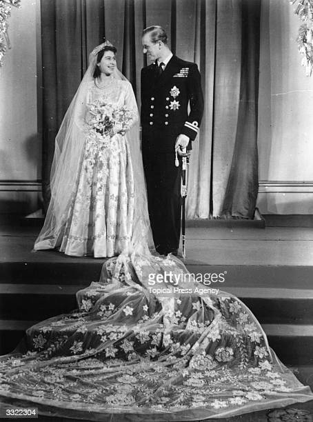 Princess Elizabeth with Philip Mountbatten on their wedding day