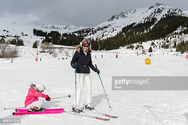 Princess Eléonore of Belgium and Queen Mathilde of Belgium ski during a family skiing holiday on February 08 2016 in Verbier Switzerland