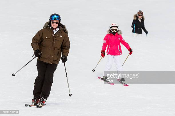 Princess Eléonore of Belgium King Philippe of Belgium and Queen Mathilde of Belgium ski during their family skiing holiday on February 08 2016 in...