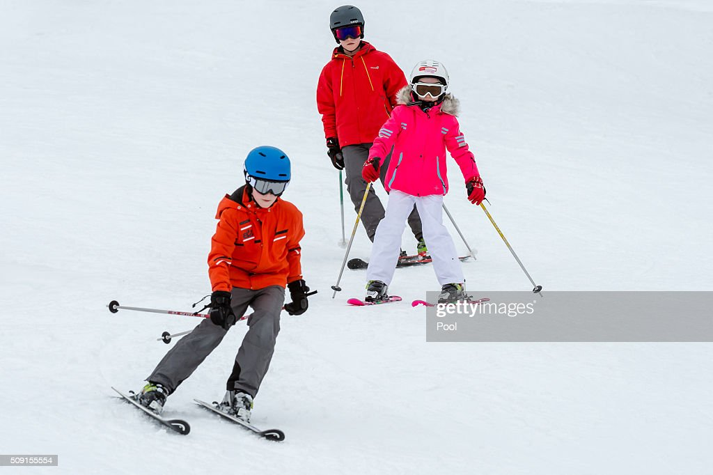 Princess Eléonore of Belgium (R), Prince Emmanuel of Belgium (L) and Prince Gabriel of Belgium ski during their family skiing holiday on February 08, 2016 in Verbier, Switzerland.