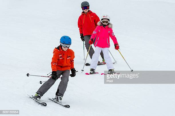 Princess Eléonore of Belgium Prince Emmanuel of Belgium and Prince Gabriel of Belgium ski during their family skiing holiday on February 08 2016 in...