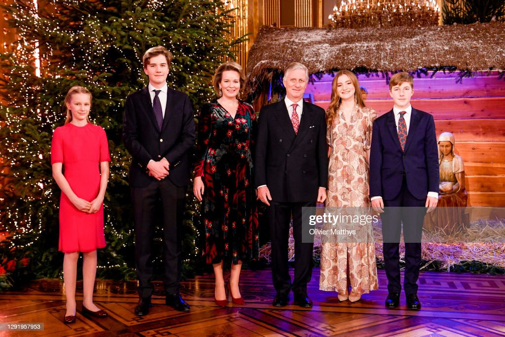 King Philippe Of Belgium, Queen Mathilde, Prince Emmanuel And Princess Eleonore Attend The Christmas Concert By The Scala Choir At the Royal Palace In Brussels : Nieuwsfoto's