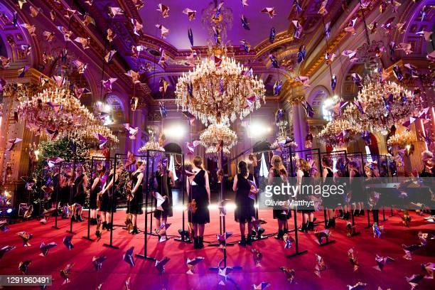 Princess Eléonore of Belgium, Prince Gabriel, Queen Mathilde, King Philippe of Belgium, Princess Elisabeth and Prince Emmanuel attend the Christmas...