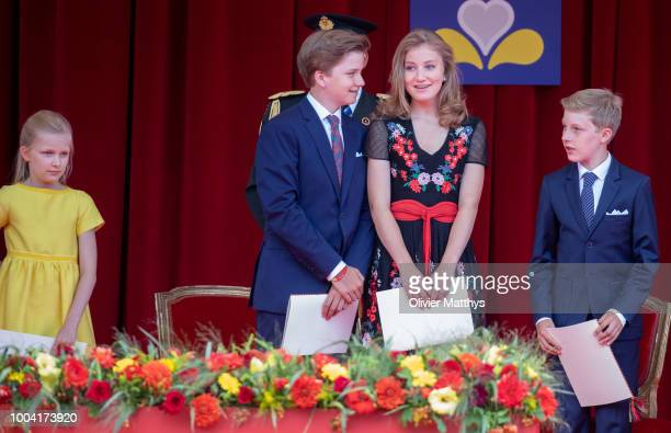 Princess ElŽonore Prince Gabriel Princess Elisabeth and Prince Emmanuel attend the National day Parade on July 21 2018 in Brussels Belgium