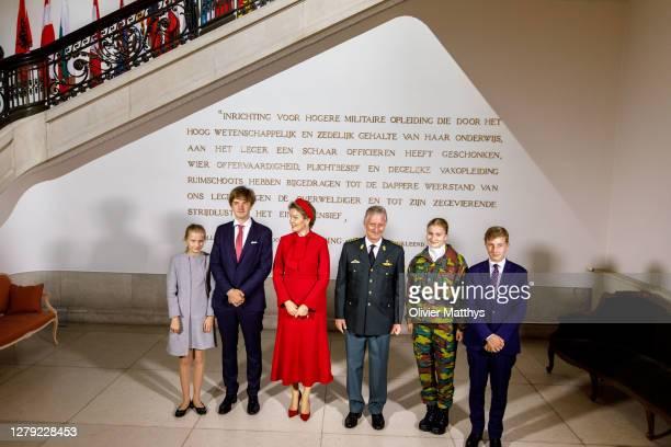 Princess Eléonore, Prince Gabriel, Queen Mathilde, King Philippe of Belgium, Princess Elisabeth and Prince Emmanuel pose for an official photograph...