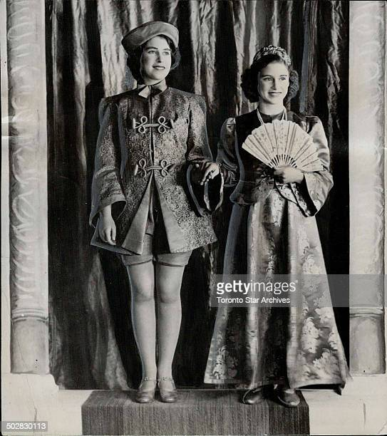 Princess enjoyed playing roles in pantomimes held every Christmas Elizabeth is shown here left as Aladdin Margaret Rose taking Princess Roxana part...