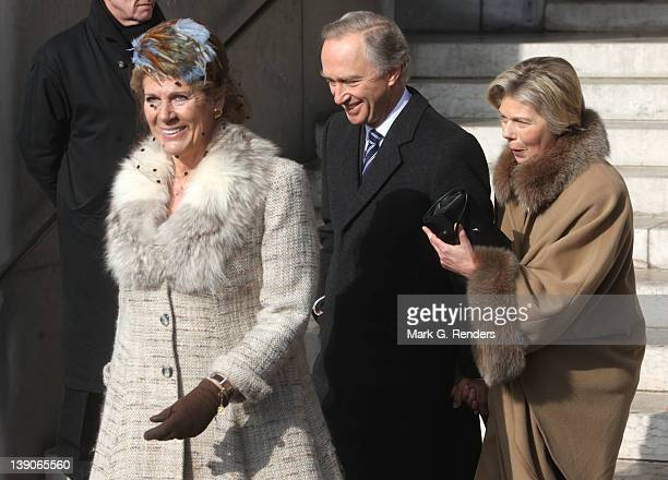 Princess Esmeralda of Belgium and Princess Marie Astrid of Luxembourg attend a memorial Mass for deceased Belgian Royals at Eglise NotreDame de...