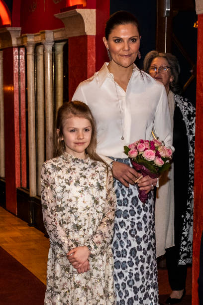 Princess Estelle and Crown Princess Victoria of Sweden attend a concert hosted by Lilla Akademien a music school for children at Vasa Theater on...