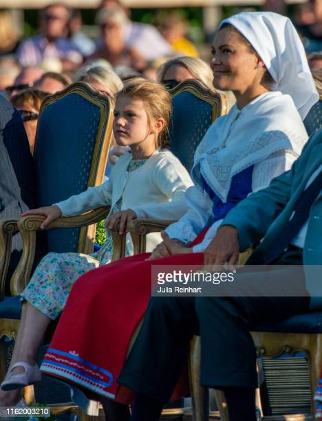 Princess Estelle and her mother Crown Princess Victoria attend The Crown Princess Victoria of Sweden's 42nd birthday celebrations on July 14 2019 at...