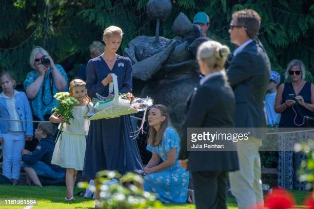 Princess Estelle attends The Crown Princess Victoria of Sweden's 42nd birthday celebrations on July 14 2019 at Solliden Palace in Borgholm Oland...
