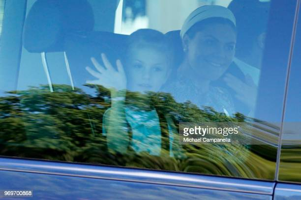 Princess Estelle Duchess of Ostergotland and Crown Princess Victoria of Sweden arrive at the christening of Princess Adrienne of Sweden at...