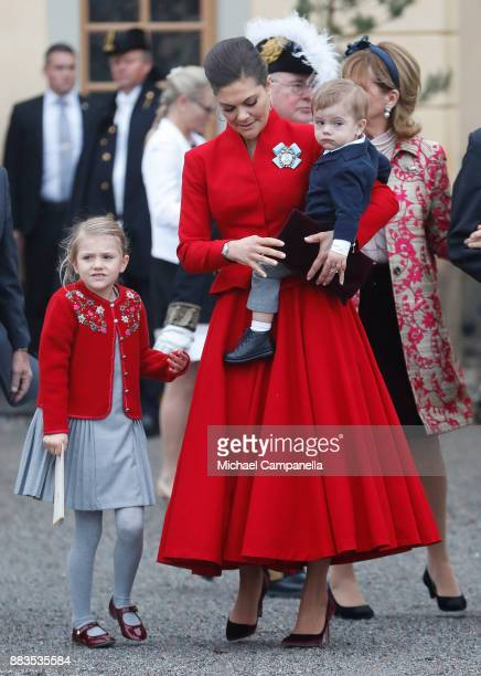 Princess Estelle Duchess of Ostergotland Victoria Crown Princess of Sweden and Prince Oscar Duke of Skane leave the chapel after the christening of...