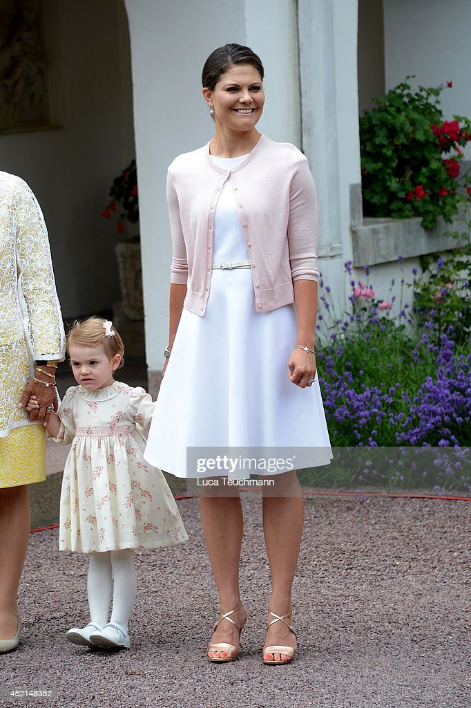 Princess Estelle of Sweden and Crown Princess Victoria of Sweden attend the Victoria Day celebrations, on the Crown Princess's 37th Birthday, at Solliden on July 14, 2014 in Oland, Sweden.