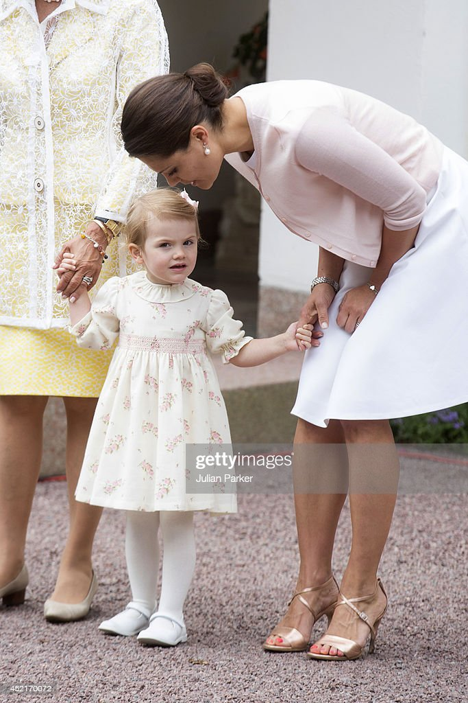 Princess Estelle of Sweden and Crown Princess Victoria of Sweden attend the 37th Birthday celebrations of Crown Princess Victoria of Sweden,at Solliden, Borgholm on July 14, 2014 in Oland, Sweden.