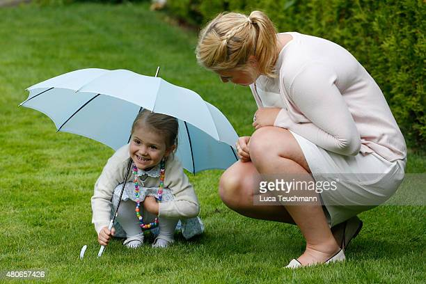Princess Estelle of Sweden and Nanny Katie attend the 38th Birthday celebrations of Crown Princess Victoria of Sweden on July 14 2015 in Oland Sweden