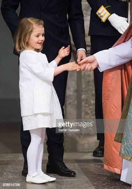 Princess Estelle of Sweden arrives at the Royal Palace to attend Te Deum Thanksgiving Service to celebrate the 70th birthday of King Carl Gustaf of...