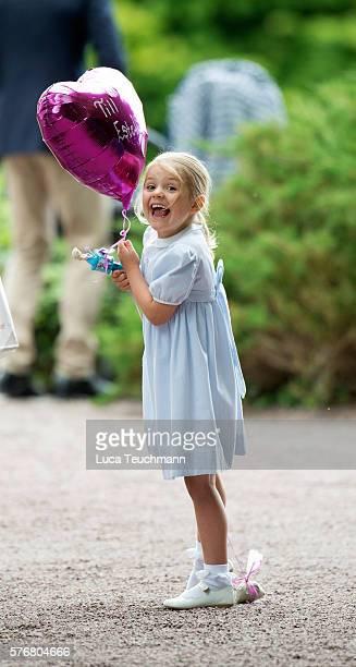 Princess Estelle of Sweden arrives for Birthday celebrations of Crown Princess Victoria of Sweden at Solliden Palace on July 14 2016 in Oland Sweden