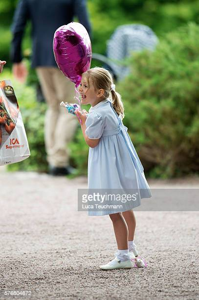 Princess Estelle of Sweden arrives for Birthday celebrations of Crown Princess Victoria of Sweden at Solliden Palace on July 14, 2016 in Oland,...