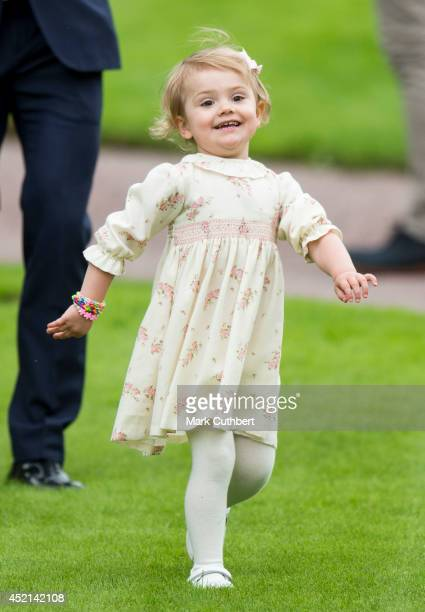Princess Estelle of Sweden attending birthday celebrations as Crown Princess Victoria of Sweden celebrates her 37th birthday at Solliden on July 14...