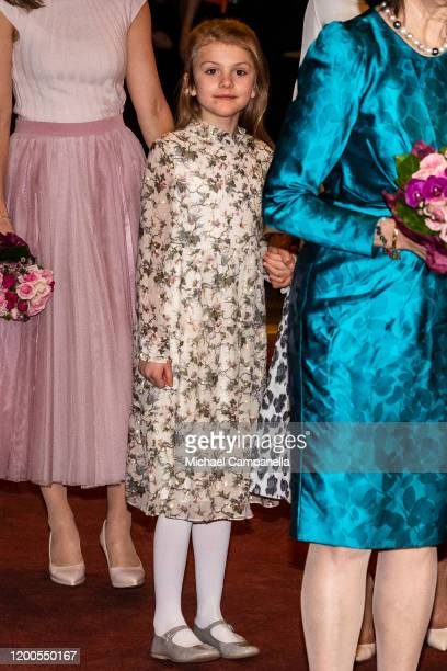 Princess Estelle of Sweden attends a concert hosted by Lilla Akademien a music school for children at Vasa Theater on February 13 2020 in Stockholm...