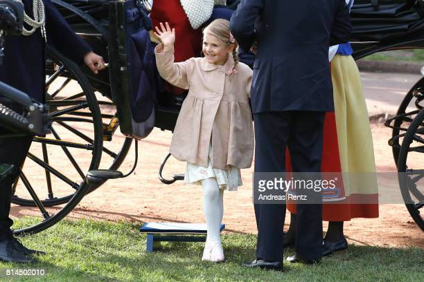 Princess Estelle of Sweden attends the celebrations of Crown Princess Victoria of Sweden's 40th birthday at Borgholm IP on July 14 2017 in Borgholm...