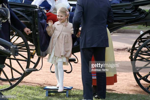 Princess Estelle of Sweden attends the celebrations of Crown Princess Victoria of Sweden's 40th birthday at Borgholm IP on July 14, 2017 in Borgholm,...