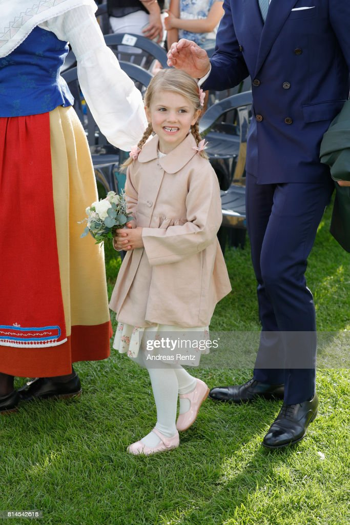 Princess Estelle of Sweden attends the celebrations of Crown Princess Victoria of Sweden's 40th birthday at Borgholm IP on July 14, 2017 in Borgholm, Sweden.