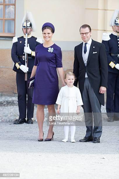 Princess Estelle of Sweden Crown Princess Victoria of Sweden and Prince Daniel of Sweden are seen at Drottningholm Palace for the Christening of...